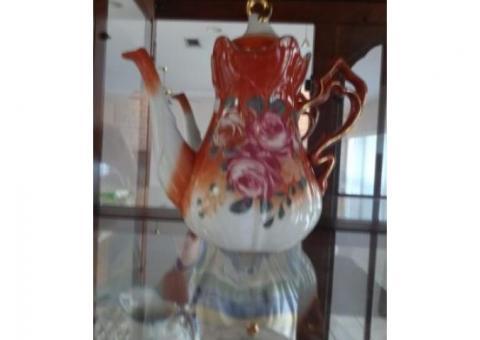 Lamp clock bookends tea pitchers, decorator plates, crystal